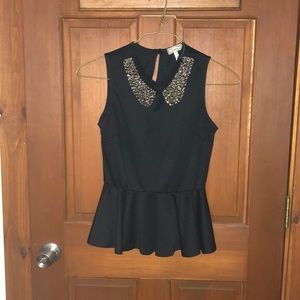 Black Peplum Tank with collar accent